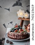 chocolate christmas cake... | Shutterstock . vector #743115619