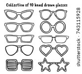 a set of glasses isolated.... | Shutterstock .eps vector #743115928