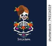 mexican dia de los muertos  day ... | Shutterstock .eps vector #743116519