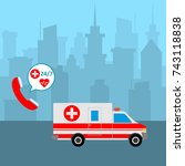 ambulance car in the city and... | Shutterstock .eps vector #743118838