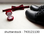 black men's shoes  bard bow tie ... | Shutterstock . vector #743121130