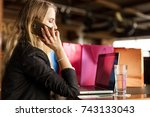 office worker having a time off ... | Shutterstock . vector #743133043