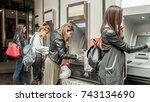 four girl friends withdrawing...   Shutterstock . vector #743134690