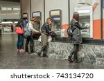 four girl friends withdrawing... | Shutterstock . vector #743134720