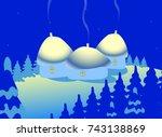 winter landscape with snow  fir ... | Shutterstock .eps vector #743138869