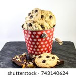 chocolate chips cookies and... | Shutterstock . vector #743140624