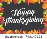 happy thanksgiving text icon... | Shutterstock .eps vector #743147128