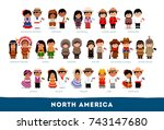 Americans in national clothes. North America. Set of cartoon characters in traditional costume. Cute people. Vector flat illustrations.