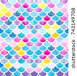 mermaid scales. watercolor fish ... | Shutterstock . vector #743149708