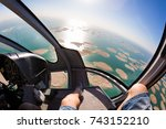 Helicopter Flight Over The Sea...