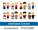 europeans in national clothes.... | Shutterstock .eps vector #743153089