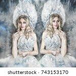 beautiful snow queen with big... | Shutterstock . vector #743153170