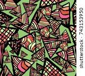 retro geometric  shapes... | Shutterstock .eps vector #743153950
