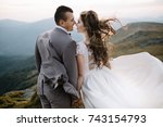 happy gorgeous bride and groom... | Shutterstock . vector #743154793