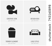 set of 4 editable cinema icons. ...