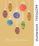 christmas postcard with... | Shutterstock .eps vector #743162299