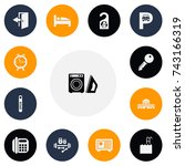 set of 13 editable hotel icons. ...