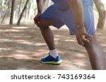 athlete black man doing... | Shutterstock . vector #743169364