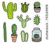 cactus species collection  ... | Shutterstock .eps vector #743169898