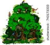 vector indonesian rainforest... | Shutterstock .eps vector #743173333