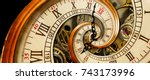 golden yellow antique old clock ... | Shutterstock . vector #743173996