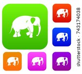 elephant set icon color in flat ... | Shutterstock .eps vector #743174038