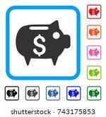 piggy bank icon. flat grey...