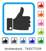 success thumb up icon. flat... | Shutterstock .eps vector #743177134