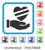sick heart care hand icon. flat ...