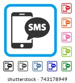 send phone sms icon. flat grey... | Shutterstock .eps vector #743178949