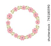 flower wreath floral leaves... | Shutterstock .eps vector #743180590