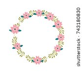 flower wreath floral leaves... | Shutterstock .eps vector #743180830
