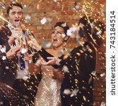 happy beautiful couples... | Shutterstock . vector #743184514