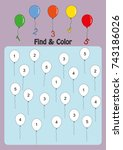 find and color numbers one  two ... | Shutterstock .eps vector #743186026