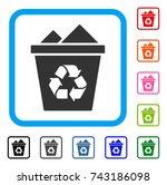 full recycle bin icon. flat... | Shutterstock .eps vector #743186098