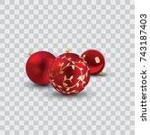 red christmas balls vector... | Shutterstock .eps vector #743187403