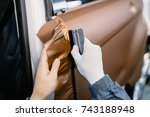 car wrapping specialist putting ... | Shutterstock . vector #743188948