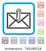 mail attachment icon. flat gray ...   Shutterstock .eps vector #743189218