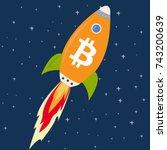 bitcoin rocket ship launching... | Shutterstock .eps vector #743200639