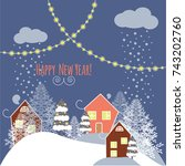 merry christmas and a happy new ... | Shutterstock .eps vector #743202760