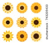 Sunflower Plant Icons Isolated...