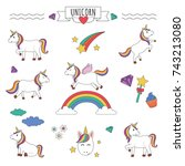set of unicorns with rainbow ... | Shutterstock .eps vector #743213080