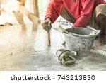 builders are installing ceramic ...   Shutterstock . vector #743213830