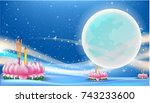 loy krathong  thai full moon... | Shutterstock .eps vector #743233600