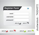 Clean Vector Registration Form with multiple color options - stock vector
