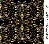 gold floral paisleys seamless... | Shutterstock .eps vector #743250124