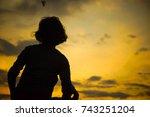 people in silhouette over... | Shutterstock . vector #743251204