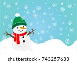 snowman in winter field  ... | Shutterstock .eps vector #743257633