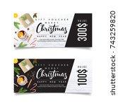 christmas promo gift voucher.... | Shutterstock .eps vector #743259820