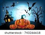 happy halloween background with ... | Shutterstock .eps vector #743266618